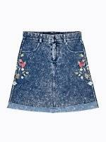 Mini skirt with floral embroidery