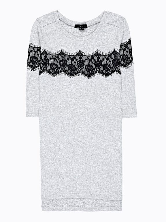 LONGLINE TOP WITH DECORATIVE LACE