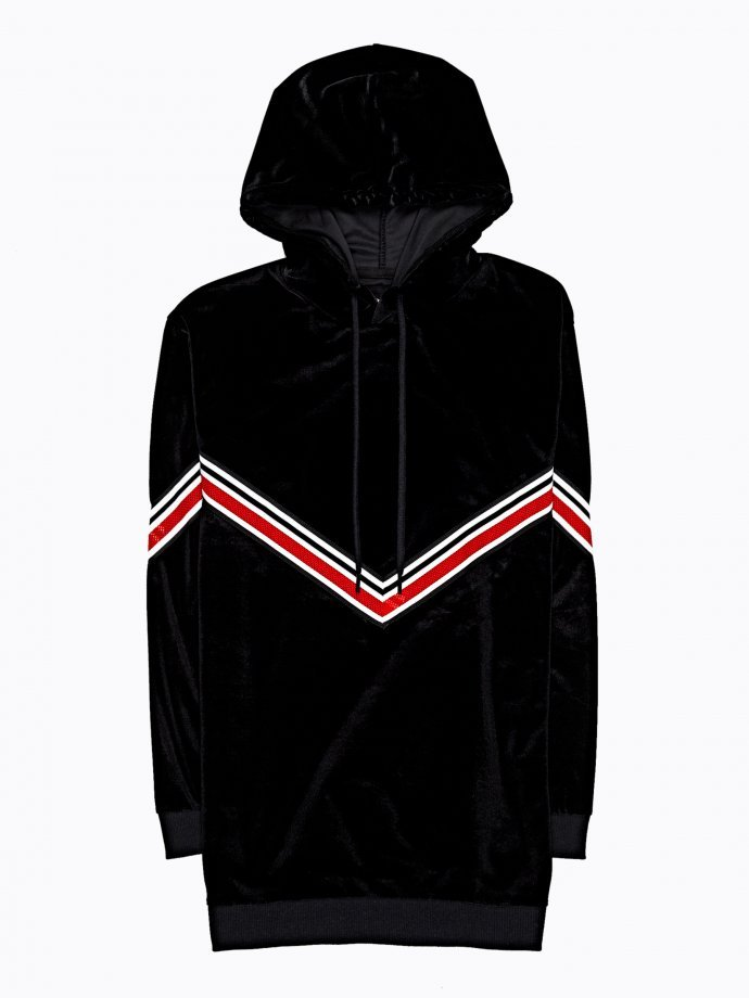Longline hoodie with striped tape