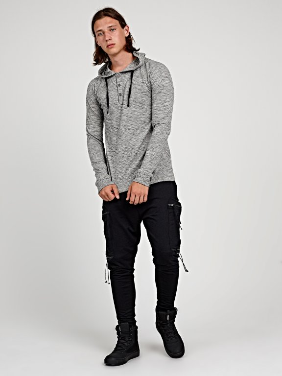 HOODED T-SHIRT WITH FRONT BUTTONS