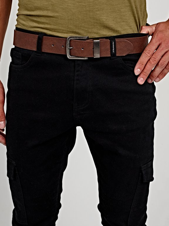 Wide belt with metal buckle