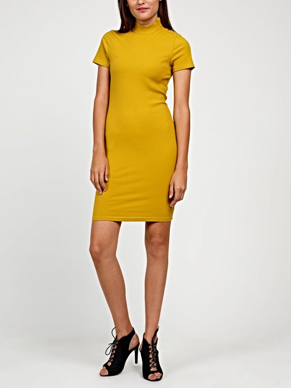 Bodycon dress with golden buttons
