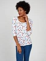 Floral print stretch t-shirt