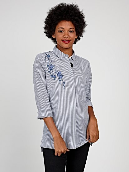 Longline cotton striped shirt with embroidery