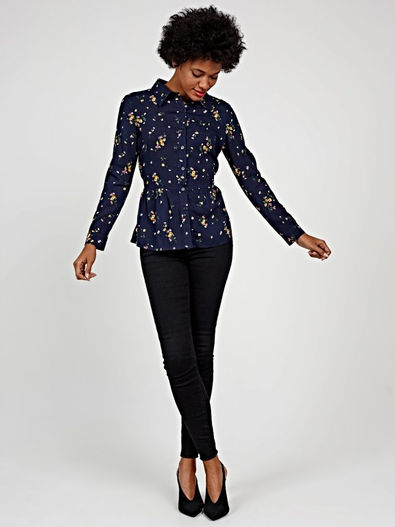 Printed peplum blouse with belt