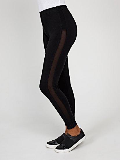 Leggings with mesh side stripe