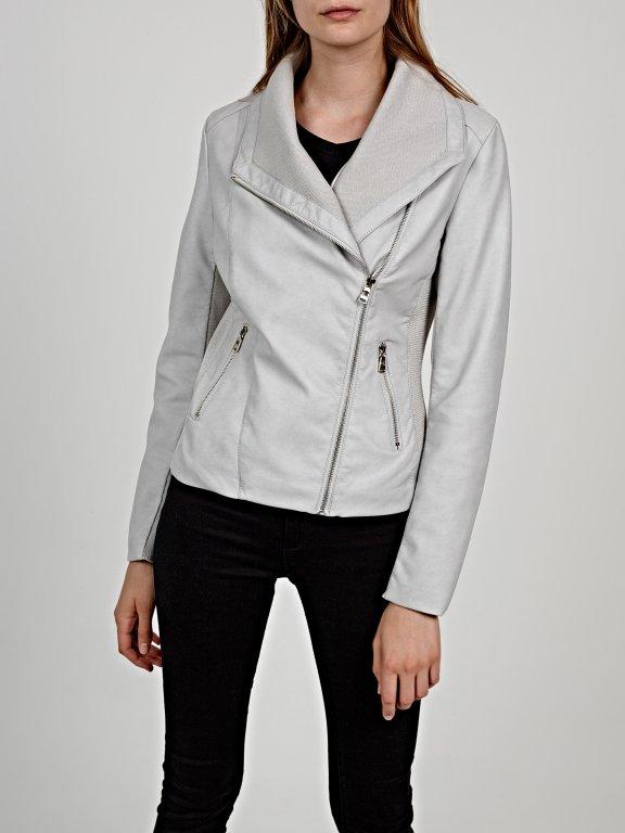 Combined faux leather biker jacket
