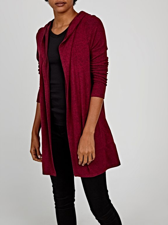 Longline hooded cardigan