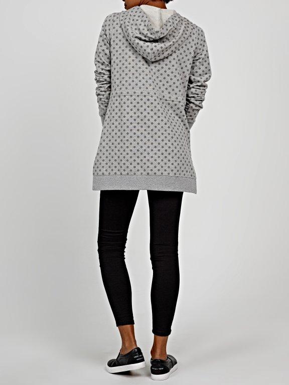 Polka dot print zip-up hoodie