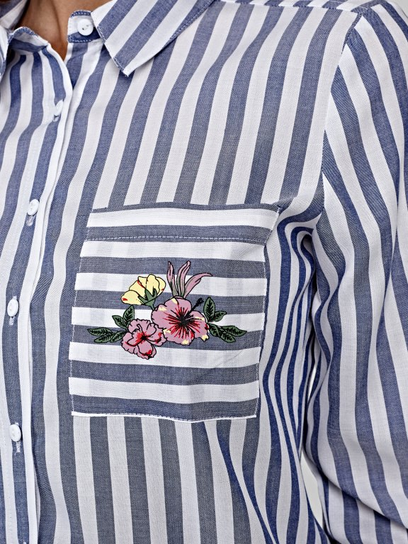 Striped shirt with floral print