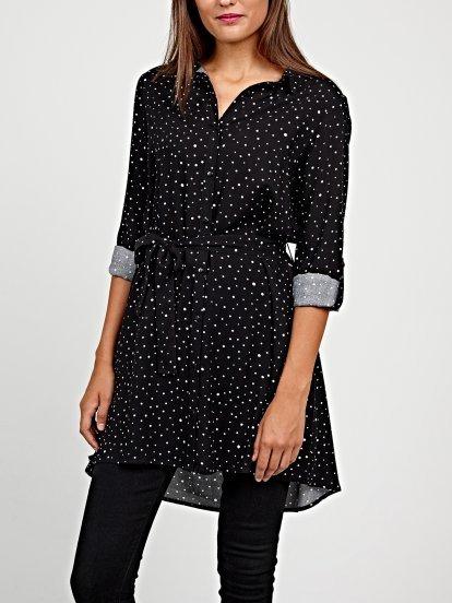 Longline polka dot shirt