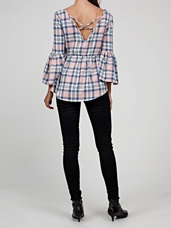 Plaid peplum blouse