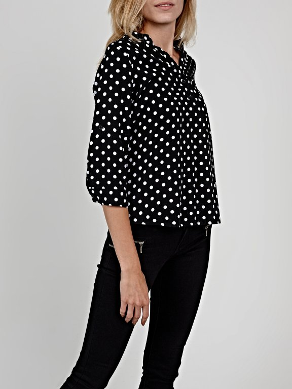 Polka dot print viscose blouse