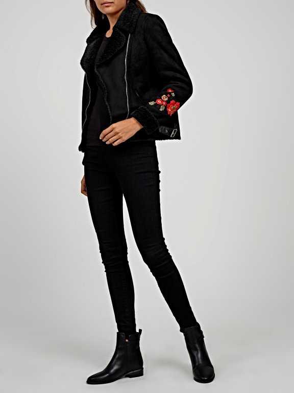 Aviator faux suede jacket with floral embroidery