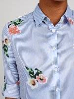 LONGLINE STRIPED SHIRT WITH FLORAL PRINT