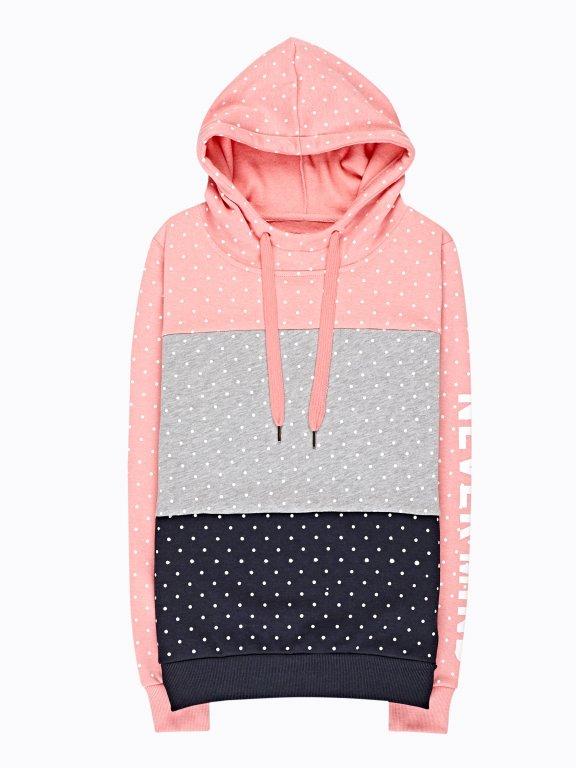 Polka dot print colour block hoodie