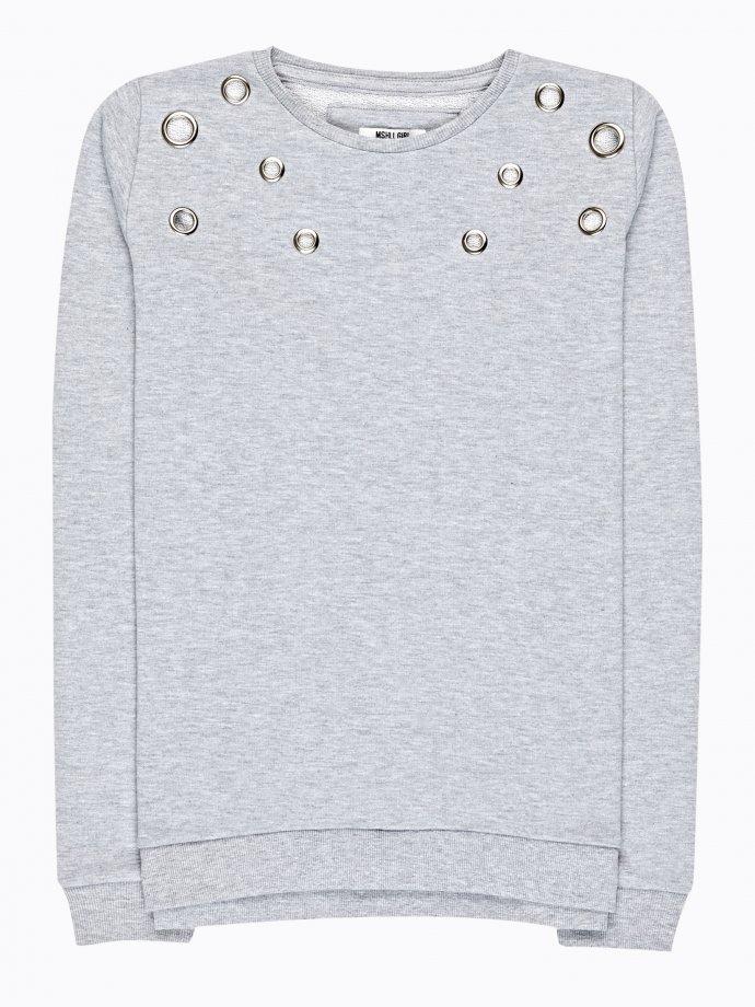 Sweatshirt with metal eyelets
