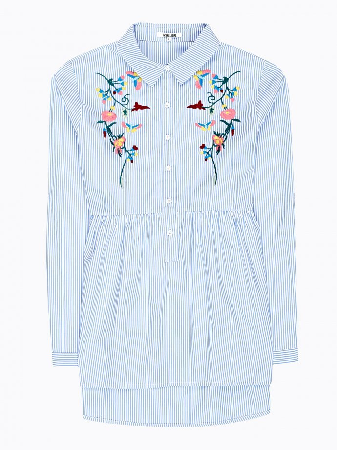 Striped shirt with embroidery and ruffle detail