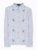 Prúžkovaná košeľa s riasením na rukávoch a kvetinovou výšivkou
