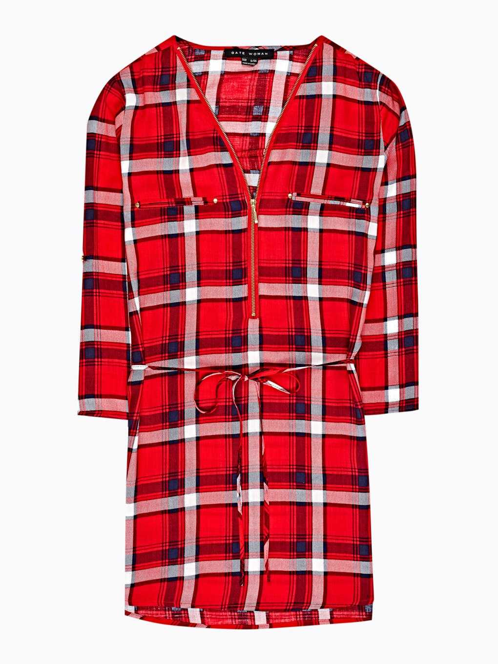 Longline plaid viscose blouse with zipper