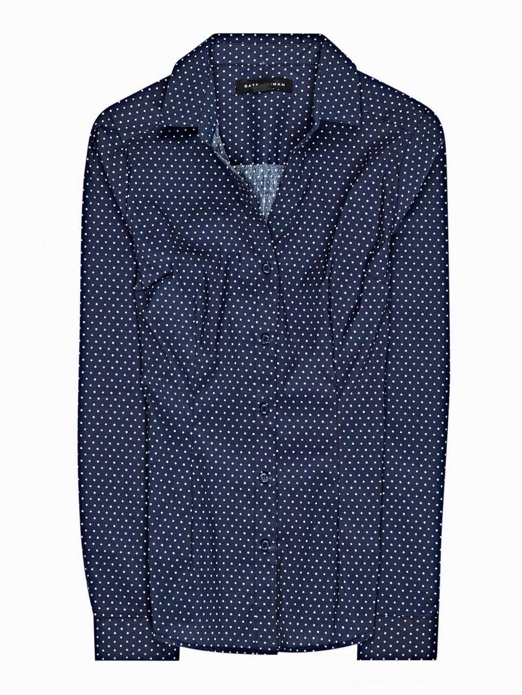 Polka dot print stretch shirt