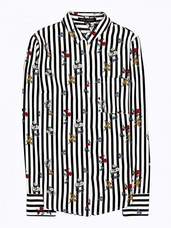 Striped shirt with flowers