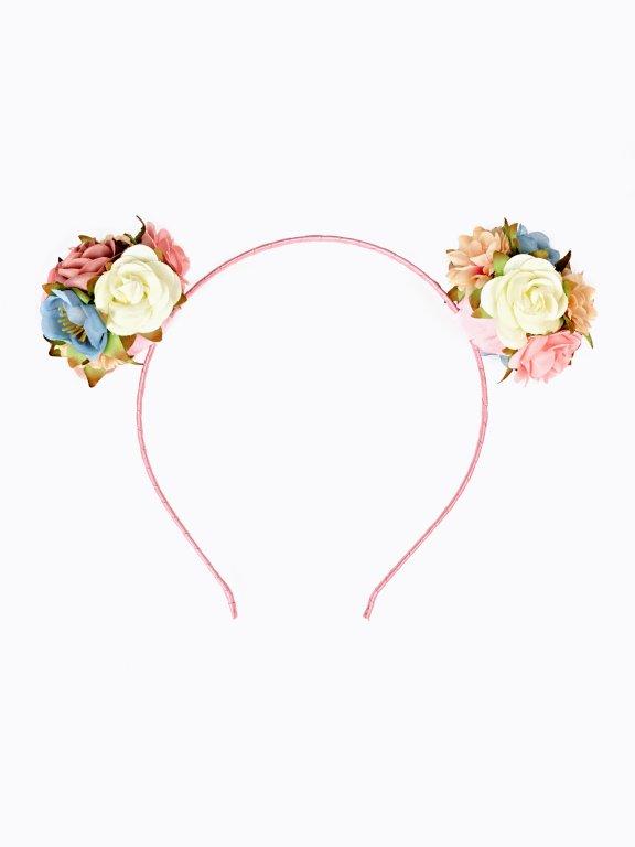 Headband with flower pom poms
