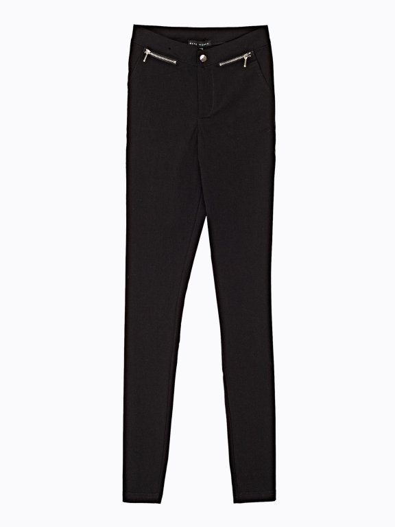 Stretch slim trousers with zippers