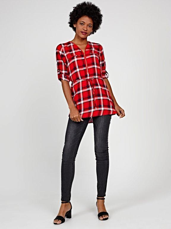 Longline plaid viscose blouse with zipper