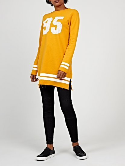 Longline sweatshirt with print