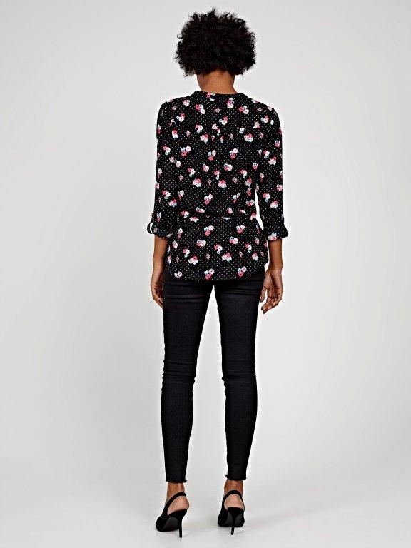 Polka dot & flower print blouse