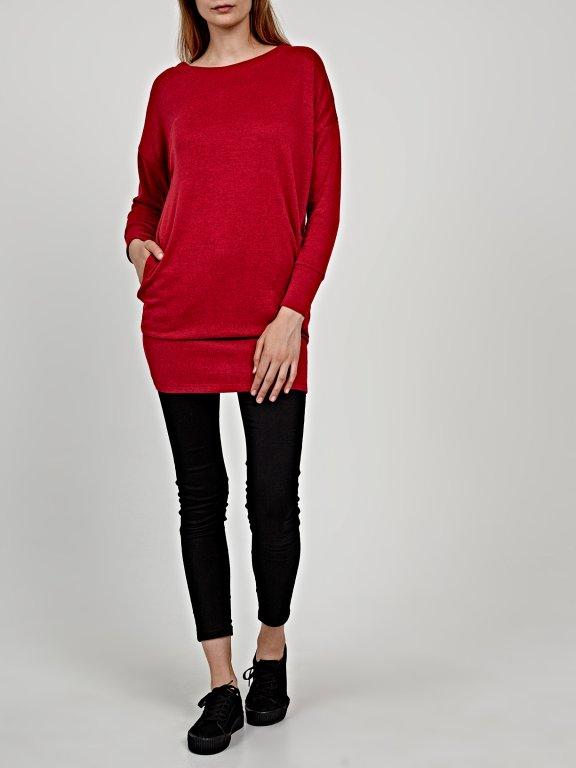 Basic longline jumper with pockets