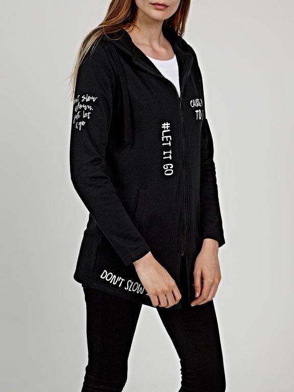Longline zip-up hoodie with message print