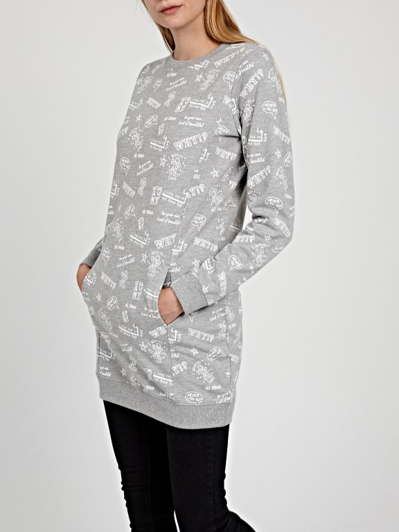 Longline printed sweatshirt
