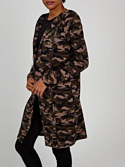 Longline camo print cardigan with hood