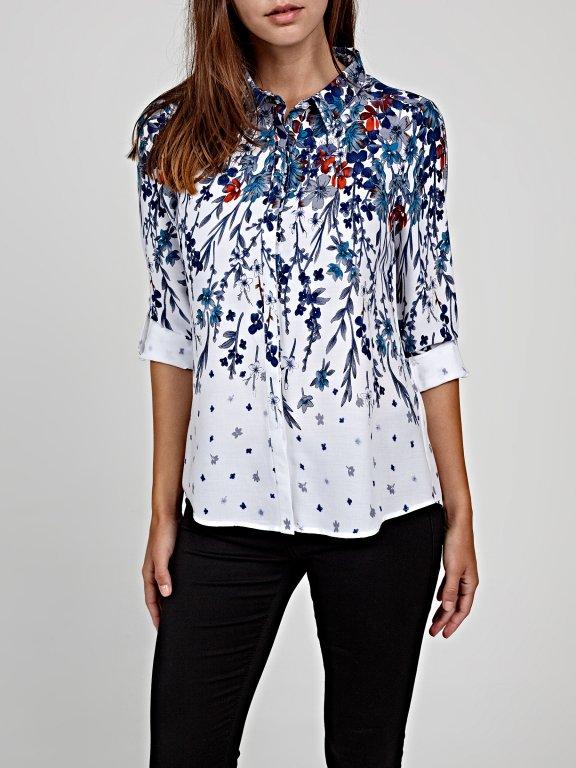 Floral print viscose shirt
