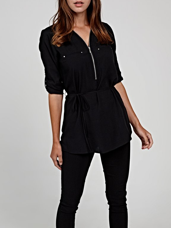 Longline basic viscose blouse with zipper