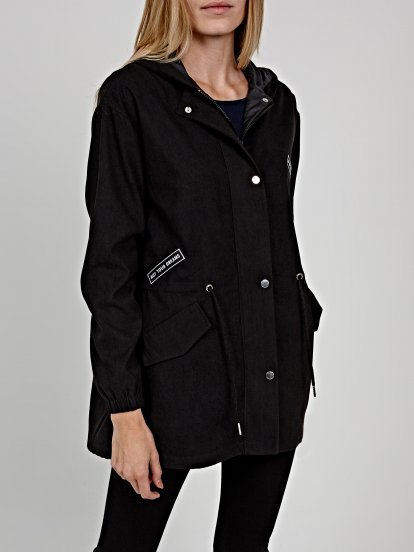 Oversized parka with patches
