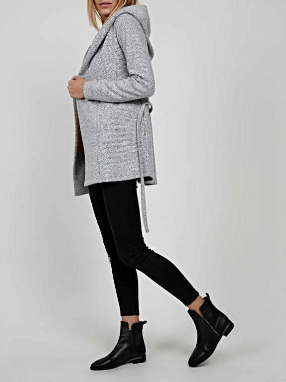 Marled hooded jacket with belt