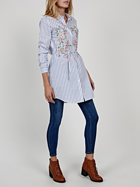 Striped shirt dress with floral embroidery