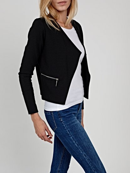 Crop blazer with zippers