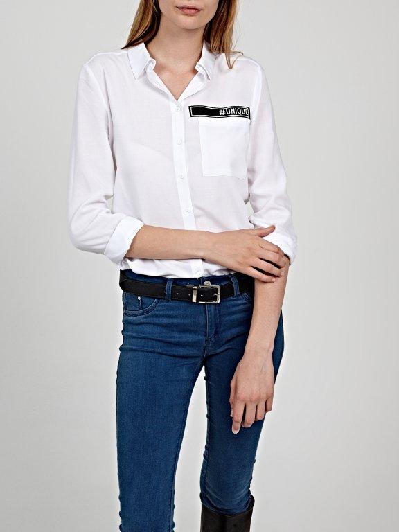 Viscose shirt with decorative tape
