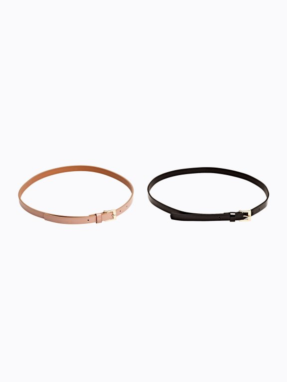 2-pack narrow glossy belts set