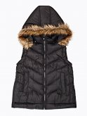 Quilted padded vest with removable hood