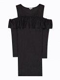 Pouzdrové šaty s odhalenými rameny a volánem