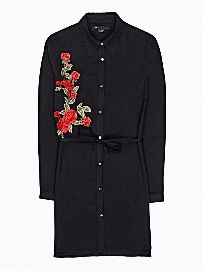 Longline viscose shirt with embroidery