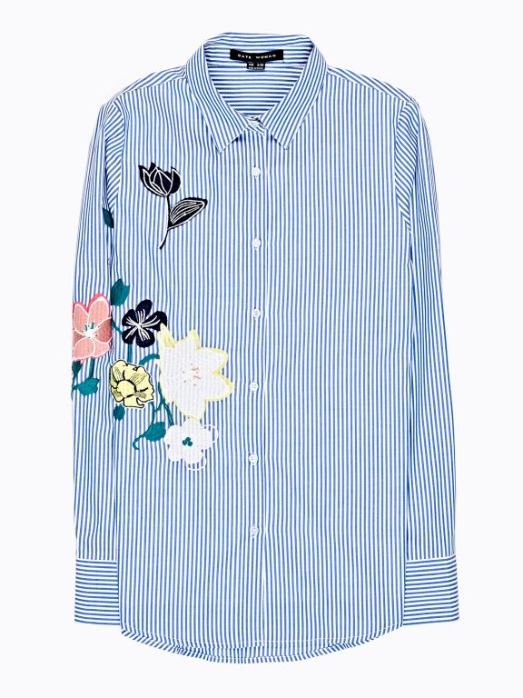 Striped cotton shirt with embroidery