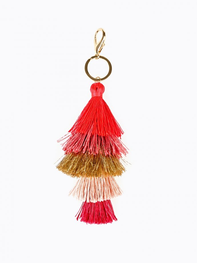 Layered tassel key ring
