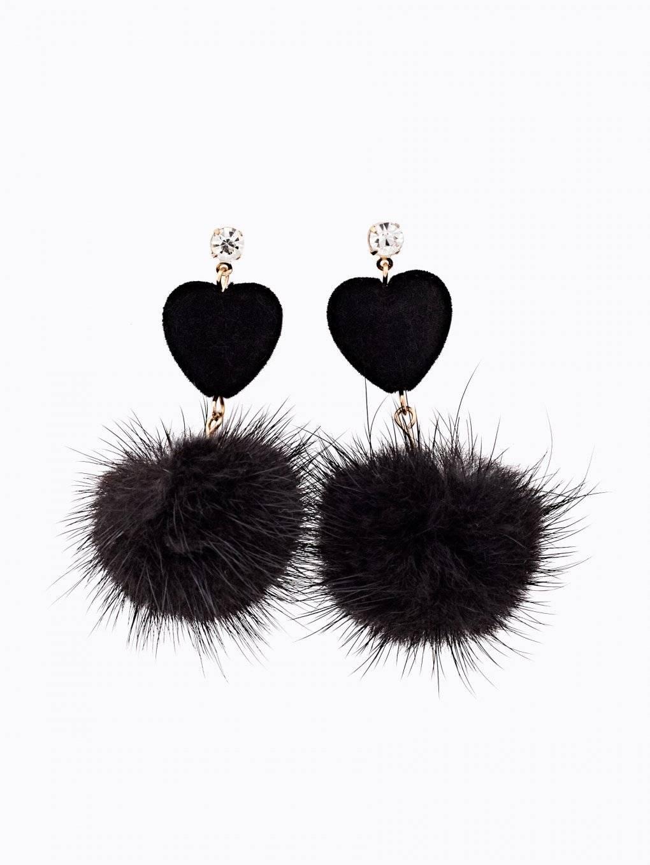 Heart and pom pom earrings