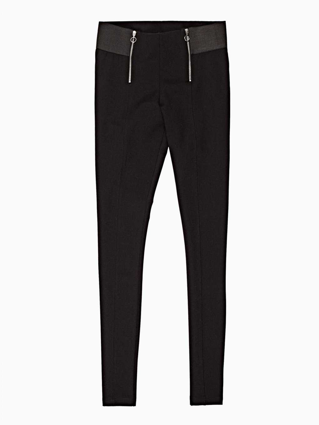 Super stretch trousers with zippers